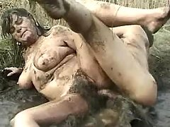 Nasty lewd BBW fucked by guy in bog