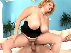 Blonde fatty rides cock n sucks him