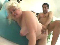 Old blond fatty eats cum after fuck