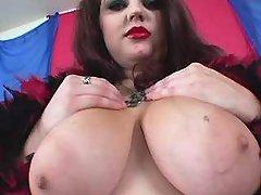 Glamour fatty w big tits sucks cock