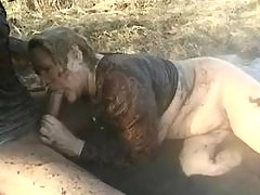 Fat mature fucked by guy in nature