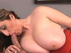 Chesty plumper sucks cock and fucks
