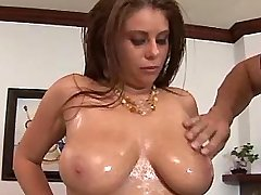 Busty lusty chick shows huge boobs