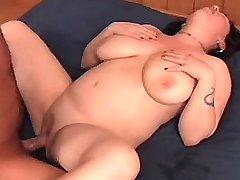 Chubby brunnette hard fucked on bed