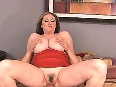 Chesty mature gets cum on huge tits
