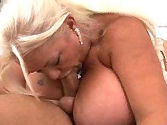 Chubby granny has fun w young guy