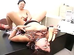 Hot fat lesbian orgy on the table
