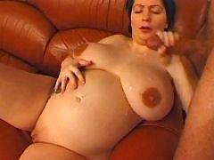 Pregnant mature gets cum on boobs