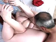 Fiery plumper fucking with old dude